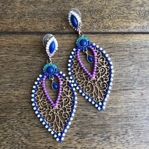 Beautiful earrings with purple and blue detail :)